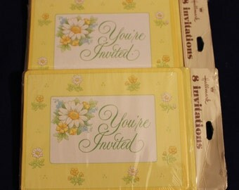 """Vintage Hallmark Inc Invitations, """"You're Invited"""" Yellow Cards with Flowers, 2 packages of 8 Cards each,"""