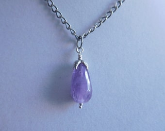 Sterling Silver and Amethyst Drop Pendant and Chain