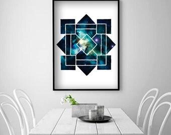 Scandinavian Geometric folk art Galaxy Wall Art Space Art Galaxy Print Space Wall Print Minimalist Artwork Modern Minimalist Neutral Art