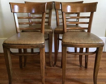 set of 4 kohn mundus bentwood chairs