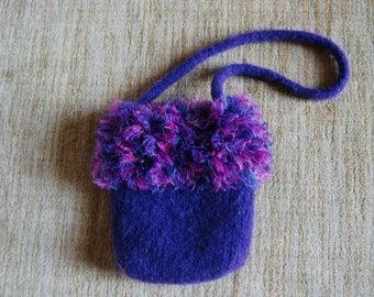 Purple Felted Wool One-Strap Purse