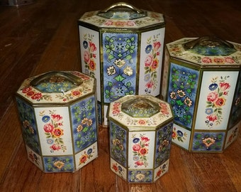 Daher Decorated Ware Container Canister Set Belgium Schuybroek-Antwerp tin metal floral