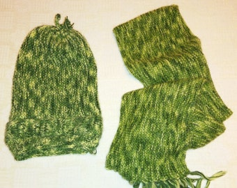 Green scarf and hat,  knit scarf and hat