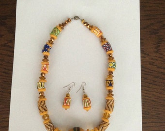 African bead necklace and earrings