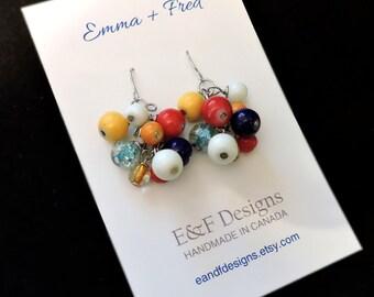 Handmade, hook, grapevine cluster earrings (silver)