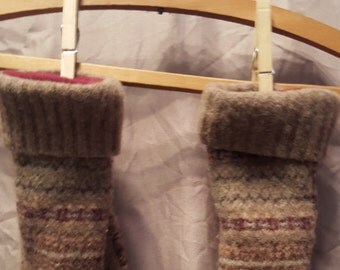 Child's Red Fleece-Lined Wool Mittens