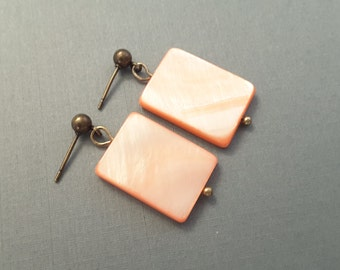 Peach Mother of Pearl Rectangle Earrings