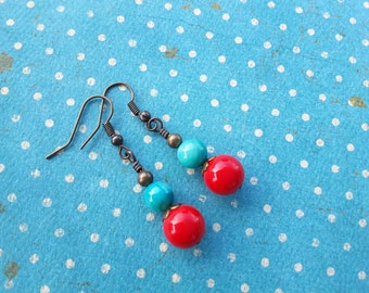 Turquoise and Red Boho Stacks . Earrings.