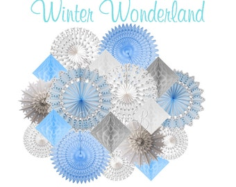 Deluxe Snowflake Honeycomb Tissue Party Decorations or Backdrop - Snowflakes, Light Blue, White, Gray Diamond - Winter themed birthday party