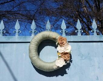 Yarn Wreath| Felt Flower Wreath - Door Décor - Mint - Felt Flower's - Wreath Door Décor - Housewarming Gift