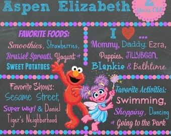 Elmo Abby Birthday Chalkboard / 1st birthday chalkboard / 2nd birthday chalkboard/ sesame street board