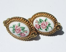 AVON Earrings, Vintage Pink Rose Clips, Gold Tone , Pink and White Clip On Earrings Mothers Day, Dainty and Feminine  P90