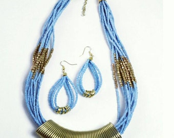 Jewerly set African Beaded Necklace & Earrings set