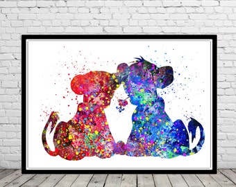 The Lion King inspired,  Nala and Simba, Watercolor print,  Kids Room Decor, Poster,print(372b)