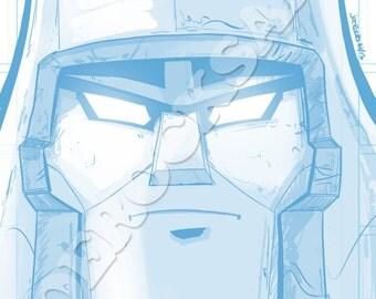 Megatron Blue Pencil Face Sketch