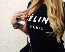 black and white celine bag - Popular items for celine paris t shirt on Etsy