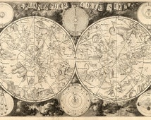 Map of Astronomy.  Planisphaerium coeleste.  Celestial Charts.  1850.  Vintage reproduction print.