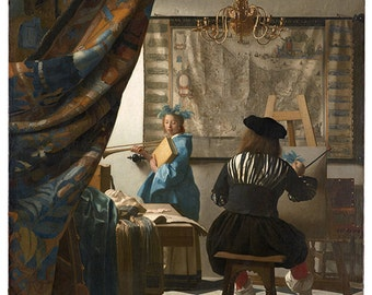 The Art of Painting, also known as The Allegory of Painting, or Painter in his Studio by Johannes Vermeer.  Reproduction Giclee print.