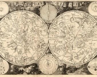 Map of Astronomy.  Planisphaerium coeleste.  Celestial Charts.  1850.  Vintage reproduction print.