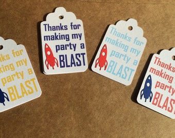 Thanks for Making my Party a Blast Favor Tags, Set of 12 Rocket Ship Gift Tags, Space Party Favor Tags