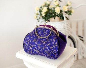 Evening purple and gold purse/Cotton bronze frame bag/Velvet floral purse