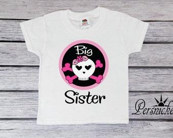 Big Sisters Skull Youth T-Shirt; Sister Toddler Tee; Big Sis Shirt; Bodysuit; Skull Shirts; Monster Pirate Skulls on the High Seas *16203