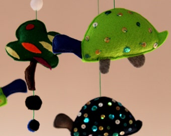 "Felt Baby Mobile ""Lovely ColorTurtle "" Unique Baby Nursery Mobile Baby Crib Mobile Modern Nursery Decor Baby Boy Mobile Baby Girl Mobile"