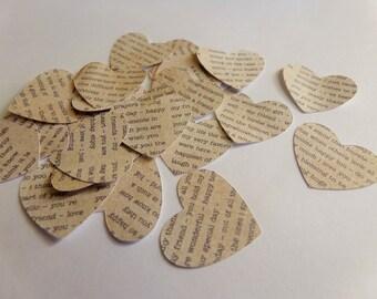 Heart Confetti - 100 pieces - Romantic confetti - valentine's confetti - party confetti -  vintage confetti