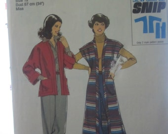 STYLE pattern 1691 for women, jacket and pants (Vintage 1976) size 12