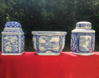 3 pc set of antique Asian blue and white glazed ceramics, 2 jars with lids, 1 planter