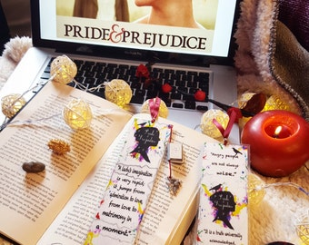 Pride and prejudice bookmark- Handmade