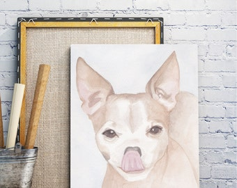 Custom dog portrait- Chihuahua sticking out tongue- watercolor painting