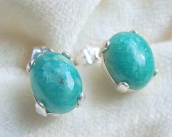 Amazonite Earrings in Sterling Silver