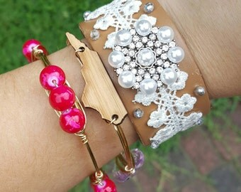 Pearl and Lace Leather Cuff