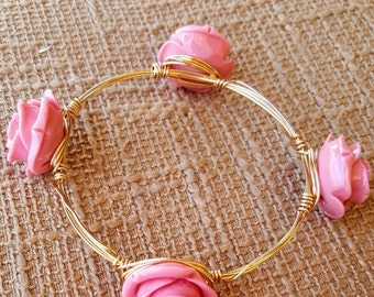 Pink rose wire wrapped bangle