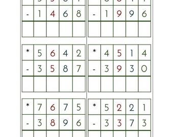 Montessori Subtraction Problem Cards - 72 Problems