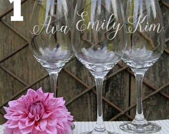 4 Personalized Wine Glasses, Custom Wine Glasses, Engraved Wine Glasses, Bridal Party  Favors, Wedding Party Favors, Bridesmaid gifts.