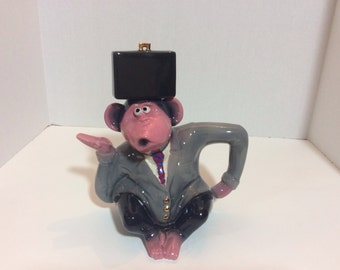 "John Groth ""Monkey Business"" Signed Teapot ~ Excellent!"
