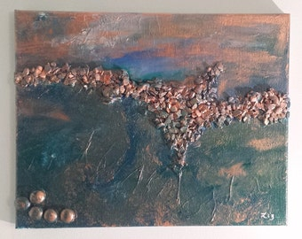 In The Deep, Ocean, Mixed Media, Turquoise, Acrylic, Abstract, Wall Art