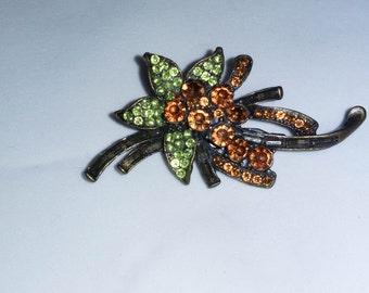 Vintage orange and green floral brooch