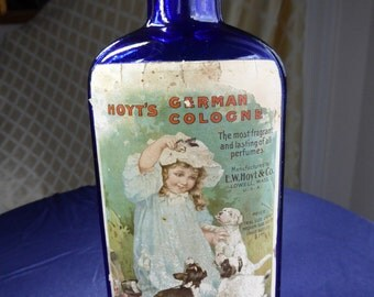 Old Hoyt's German Cologne Amethyst Color Late 1900s Bottle