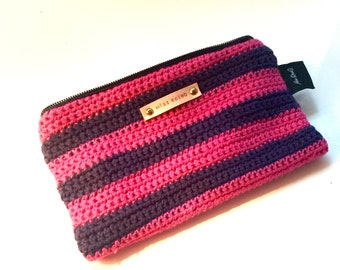 Pink and blue crochet coin wallet