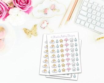 02/ Planner stickers - kawaii weather stickers for erin condren, kikki k, fikofax and carpe diem life planners