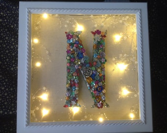 OOAK Bling your name shadow box! made to order