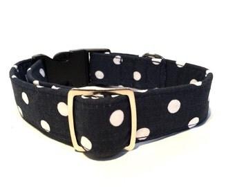 Dog Collar Navy Blue Spots