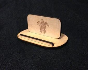 Wooden Laser Cut Phone Stand Turtle Design
