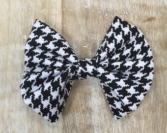 Black and White Fabric Hair Bow