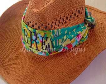 SALE! Personalized Hat Band, Beach Sun Hat Band Monogrammed