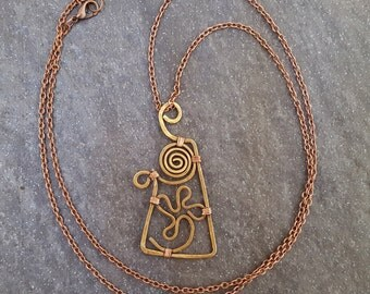 Long copper necklace bronze sun flower pendant Long Boho Necklace bronze flower pendant bronze pendant OrangeKnot bronze triangle pendant