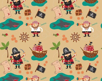 Blackbeard's Pirates Main Gold by Riley Blake Designs - Nautical Ship Sharks Ocean Brown - Quilting Cotton Fabric - by the yard